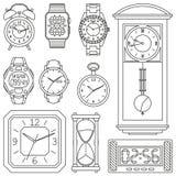 Ensemble d'icône de montres Illustration décrite de vecteur illustration libre de droits