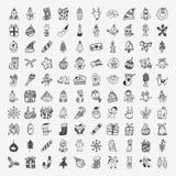 Ensemble d'icône de Noël de 100 griffonnages Photographie stock libre de droits
