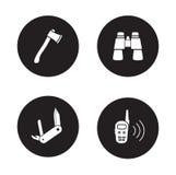 Ensemble d'icône de noir d'équipement de survie illustration libre de droits