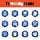 Ensemble d'icône de pêche Photo stock