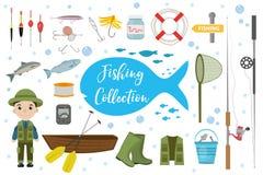 Ensemble d'icône de pêche, plat, style de bande dessinée Objets de collection de pêche, éléments de conception, sur le fond blanc Image libre de droits