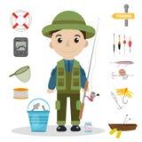 Ensemble d'icône de pêche, plat, style de bande dessinée Objets de collection de pêche, éléments de conception, sur le fond blanc Images libres de droits