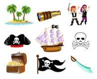 Ensemble d'icône de pirates Photos stock