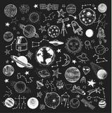 Ensemble d'icône de planètes, illustration tirée par la main de vecteur illustration libre de droits