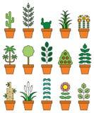 Ensemble d'icône de plantes d'intérieur Photos libres de droits