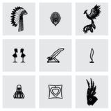Ensemble d'icône de plume de vecteur Photos libres de droits