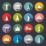 Ensemble d'icône de points de repère de voyage Photos stock