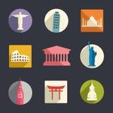 Ensemble d'icône de points de repère de voyage Image libre de droits