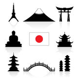 Ensemble d'icône de points de repère du Japon Image libre de droits