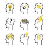 Ensemble d'icône de processus d'esprit humain Images stock