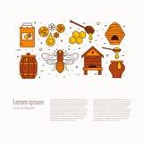 Ensemble d'icône de produit de miel illustration de vecteur