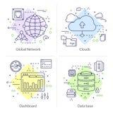 Ensemble d'icône de quatre Datacenter illustration de vecteur