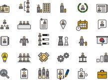Ensemble d'icône de ressources humaines d'affaires Photos stock