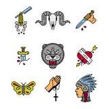 Ensemble d'icône de rockabilly Images stock