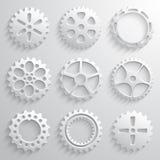 Ensemble d'icône de roues de vitesse Neuf vitesses 3d sur une lumière Images stock