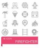 Ensemble d'icône de sapeur-pompier de vecteur Image stock