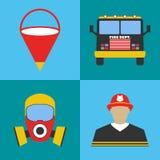 Ensemble d'icône de sapeur-pompier Icônes d'équipement de departament du feu Vecteur i illustration libre de droits