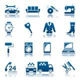 Ensemble d'icône de service et de réparation Photo stock