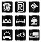 Ensemble d'icône de services de taxi Photos libres de droits