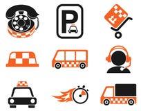 Ensemble d'icône de services de taxi Images stock