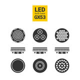 Ensemble d'icône de silhouette d'ampoules de la lumière GX53 de LED Photo libre de droits