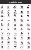 Ensemble d'icône de 50 sites Web, version noire Photo libre de droits