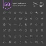 Ensemble d'icône de sport et de forme physique 50 ligne mince icônes de vecteur illustration de vecteur