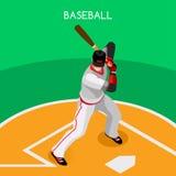 Ensemble d'icône de sports de joueur de baseball concurrence internationale réglée de championnat de base-ball du sport 3D isomét Image libre de droits