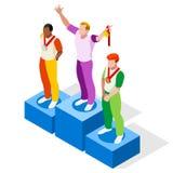 Ensemble d'icône de sports de podium de gagnant Concept de vitesse Athlète isométrique des Jeux Olympiques 3D Compétition sportiv Images stock