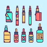 Ensemble d'icône de style de graphique de vecteur de dispositifs et de liquides de Vape Photos stock