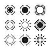 Ensemble d'icône de Sun, illustration de vecteur Photographie stock libre de droits