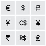 Ensemble d'icône de symbole monétaire de vecteur Photos libres de droits