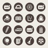 Ensemble d'icône de thème d'école Images stock