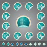 Ensemble d'icône de thème de bien-être, tollkit placé dans la forme de timbre Image libre de droits