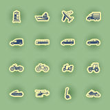 Ensemble d'icône de transport d'isolement sur le vert Photographie stock