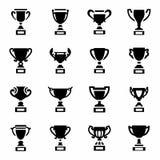 Ensemble d'icône de trophée de vecteur Images libres de droits