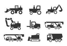 Ensemble d'icône de véhicules de construction Photos libres de droits