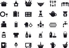 Ensemble d'icône de vaisselle de cuisine Photographie stock libre de droits