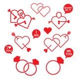 Ensemble d'icône de valentine de coeur illustration de vecteur