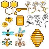 Ensemble d'icône de vecteur d'abeille et de rucher de fleurs illustration de vecteur