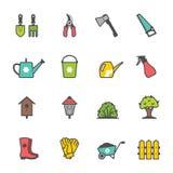 Ensemble d'icône de vecteur d'outils et d'accessoires de jardin Photographie stock