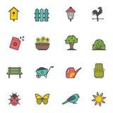 Ensemble d'icône de vecteur d'outils et d'accessoires de jardin Photos libres de droits