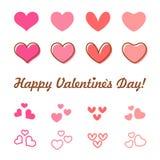 Ensemble d'icône de vecteur de coeur de jour de valentines Photographie stock libre de droits
