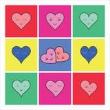 Ensemble d'icône de vecteur de coeur rose Images stock