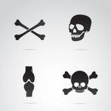 Ensemble d'icône de vecteur de crânes et d'os Photos stock