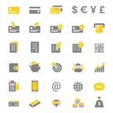 Ensemble d'icône de vecteur de silhouette de finances et d'opérations bancaires Photographie stock libre de droits