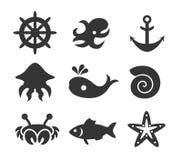 Ensemble d'icône de vie marine Images stock