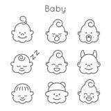 Ensemble d'icône de visages d'enfants Image stock