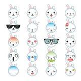 Ensemble d'icône de visages de smiley de lapin Image libre de droits