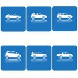 Ensemble d'icône de voiture Silhouette de vecteur Blanc sur le bleu Photographie stock libre de droits